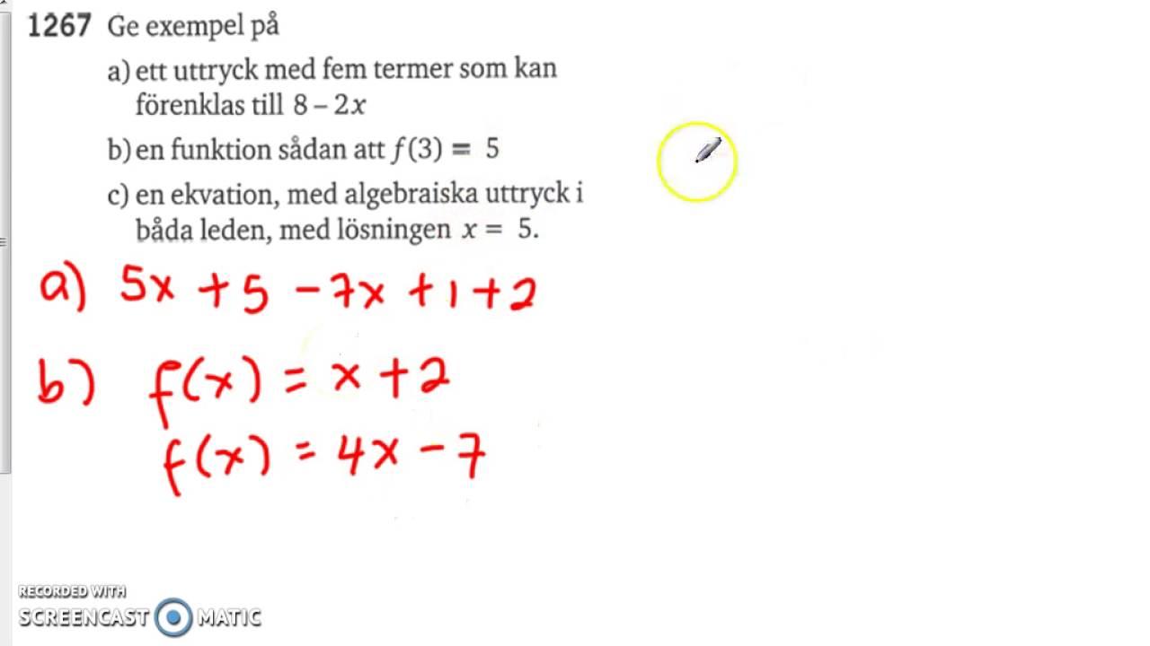 Matematik 5000 - Ma 2a - Kapitel 1 - Skillnaden mellan uttryck, ekvation och funktion - 1267