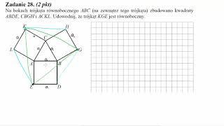 Na bokach trójkąta równobocznego ABC na zewnątrz tego trójkąta zbudowano kwadraty ABDE, CBGH, ACKL