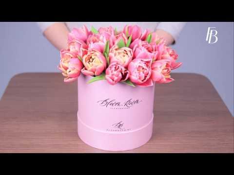 Как сделать букет своими руками:  цветы в шляпной коробке