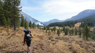 Hiking/Backpacking Past a Wildfire along Thorofare Creek just outside Yellowstone National Park. 4K