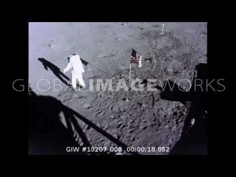 Neil Armstrong & Buzz Aldrin Place American Flag On The Moon