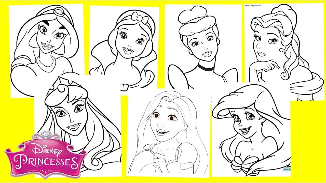 - Disney Princesses Coloring Pages - Jasmine Snow White Cinderella