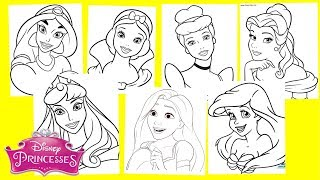 Disney Princesses Coloring Pages - Jasmine Snow White Cinderella Ariel Belle Aurora Rapunzel