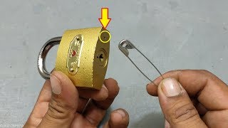 Download Easy Way To Open Lock With Safety Pin | Easy Life Hack | Teaching 24