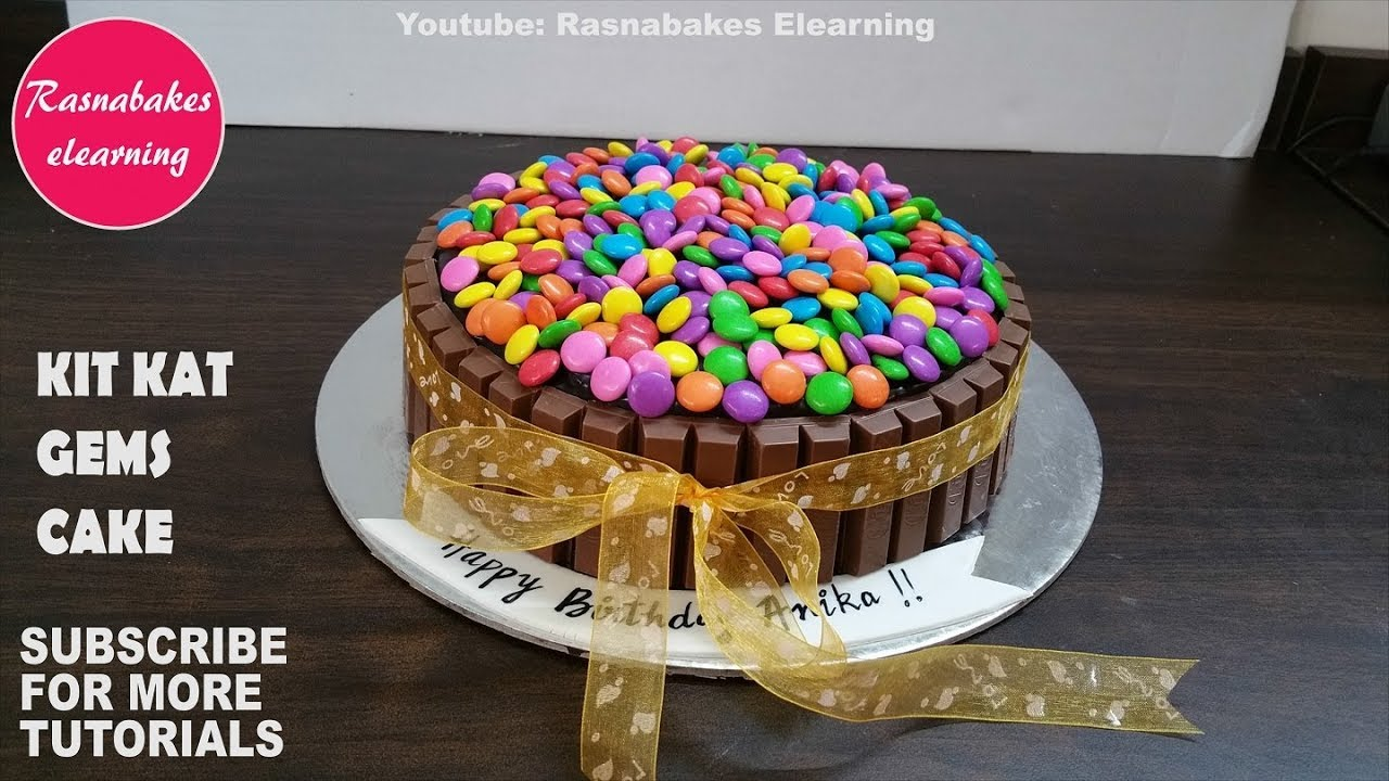 How To Make Kit Kat Chocolate Bar Gems Birthday Cake Design Ideas Recipe Decorating Tutorial Video