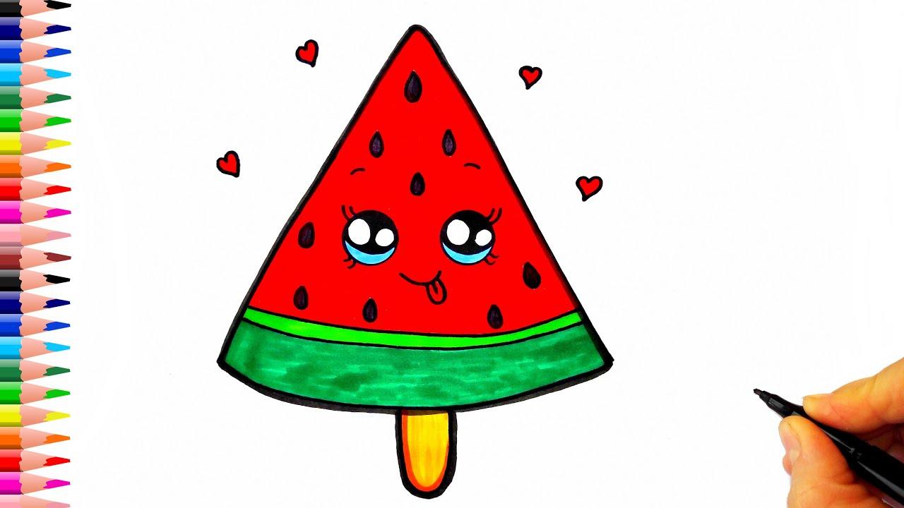 Sevimli Karpuz Dondurma Çizimi - Kolay Çizimler - Karpuz Çizimi - Dondurma Çizimi