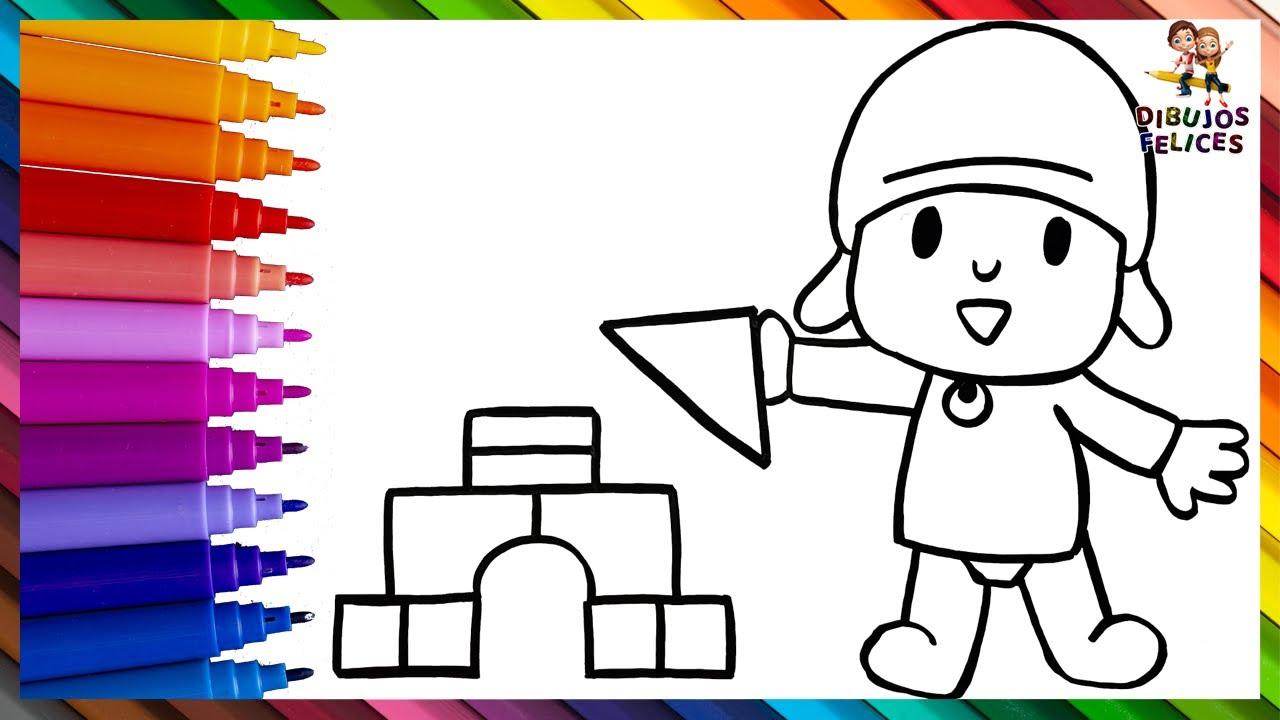 Dibuja y Colorea A Pocoyó Con Bloques De Construccion De Arcoiris 👶🔺🟨🌈 Dibujos Para Niños