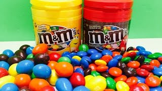 Opening M&M's Rainbow Chocolate Candy Containers Learning Colors