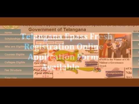Telangana Epass Scholarship Fresh Online Application Form