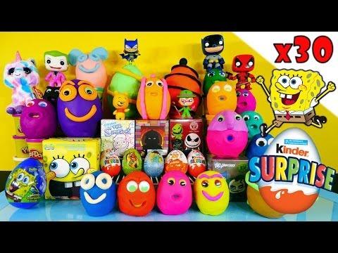 30 Kinder Surprise Play Doh Eggs Blind Box Toys Disney Princess Planes Spongebob TMNT PlayDough
