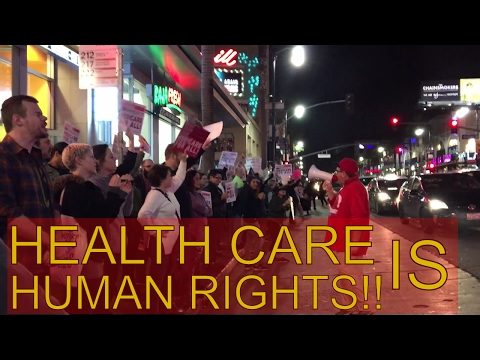Hundreds Gather in Hollywood For 'SAVE OUR HEALTH CARE' Protest