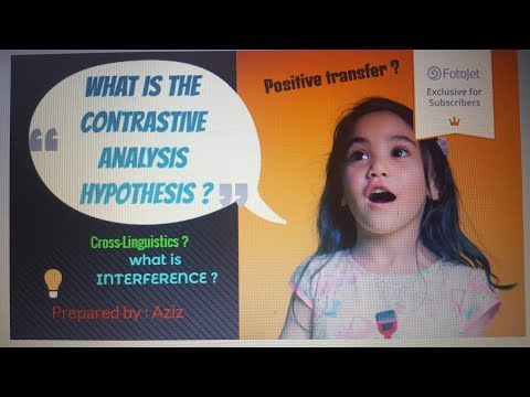 Contrastive analysis hypothesis ( cross-linguistic influence)