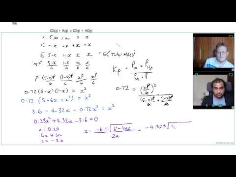 USING a QUADRATIC EQUATION to FIND  EQUILIBRIUM MOLES given Kp. Question 4 | A Level Chemistry Tutor