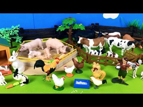 Lots of Toys Farm Animals for Kids - Baby Farm Toys and Mom Video - Learn Animals Names