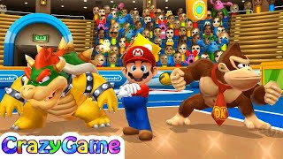 Mario Sports Mix - Team Donkey Kong & Bowser & Mario Play Dogdeball Expert Gameplay | CRAZYGAMINGHUB