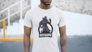 Fortnite Raven Character Skin T-Shirt Personalized with Your Custom Name