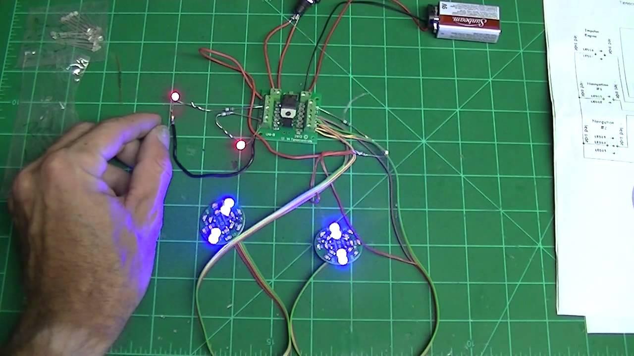 Demo: Tenacontrols Bussard Lighting Kit For The Revell Into Darkness Enterprise Model Kit  YouTube