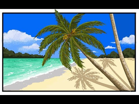 Ms paint drawing how to draw coconut tree palm tree beach its youtube uninterrupted voltagebd Image collections