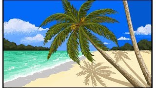 MS Paint drawing - How to draw Coconut tree/ Palm tree beach - Request video