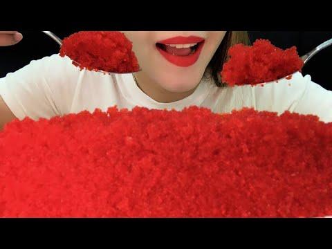 ASMR RED TOBIKO EGGS I FLYING FISH ROE I EATING SOUND I Mai —ASMR I NO TALKING I MUKBANG