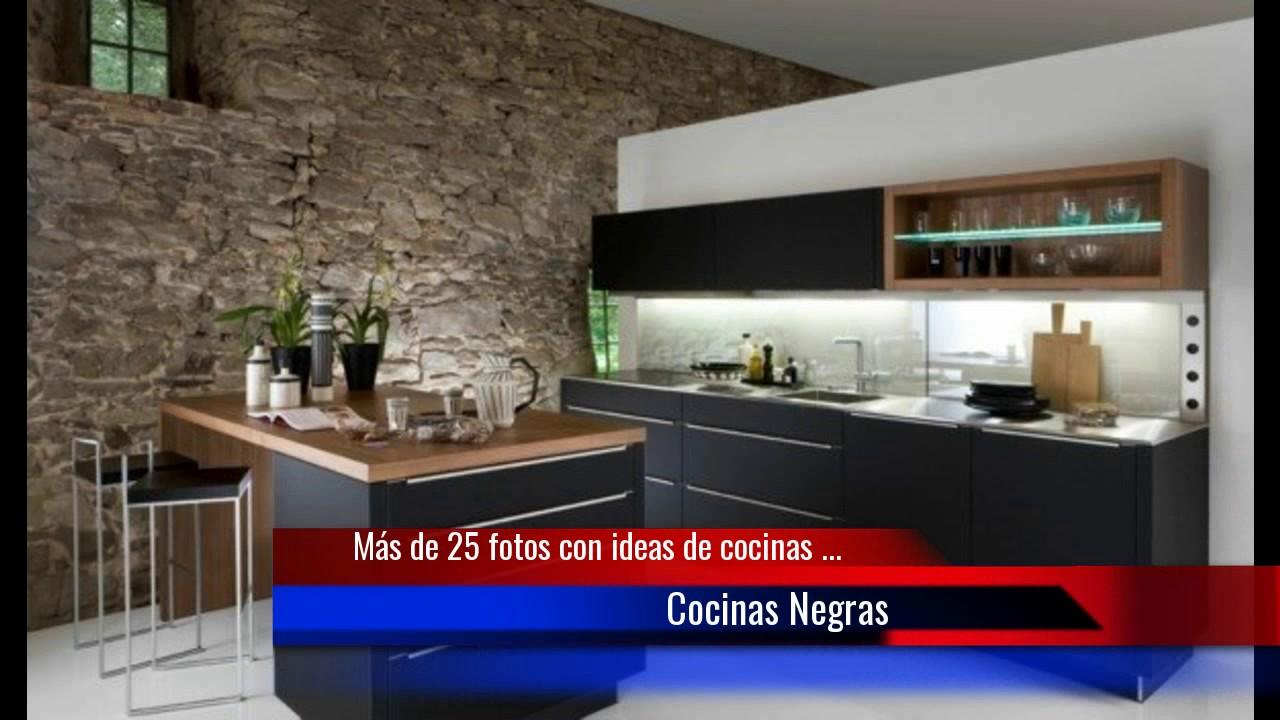 De 25 fotos con ideas de cocinas negras youtube - Fotografias de cocinas ...