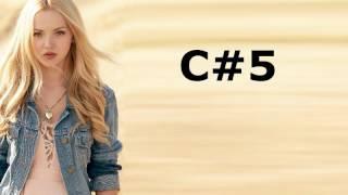 Dove Cameron Vocal Range: E3 - F#5 - Eb6(F6)