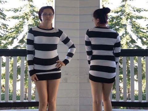 Bodycon Striped Long Sleeve Black + White Short Dress | OOTD 9
