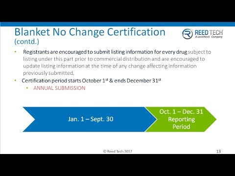 FDA's Drug Product Listing No Change Certification Webinar