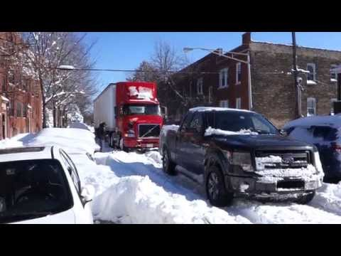 Ford F150 FX4 Tows Semi Truck During Chicago Blizzard February 2015