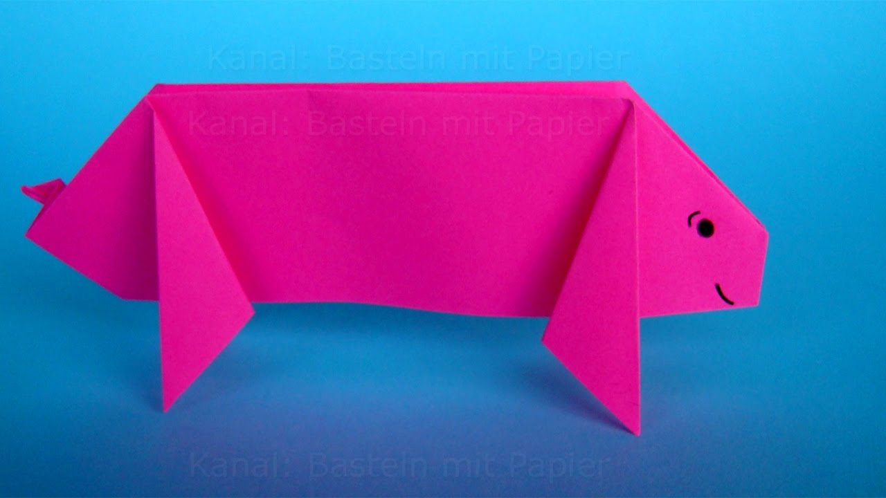 origami schwein falten diy origami basteln mit papier. Black Bedroom Furniture Sets. Home Design Ideas