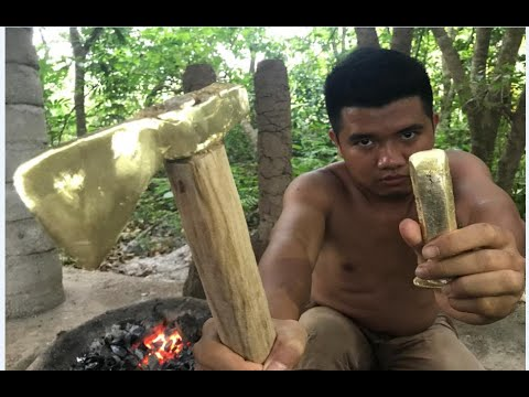 Primitive Technology: Furnace and casting copper axe  beautiful (ax, chisel)