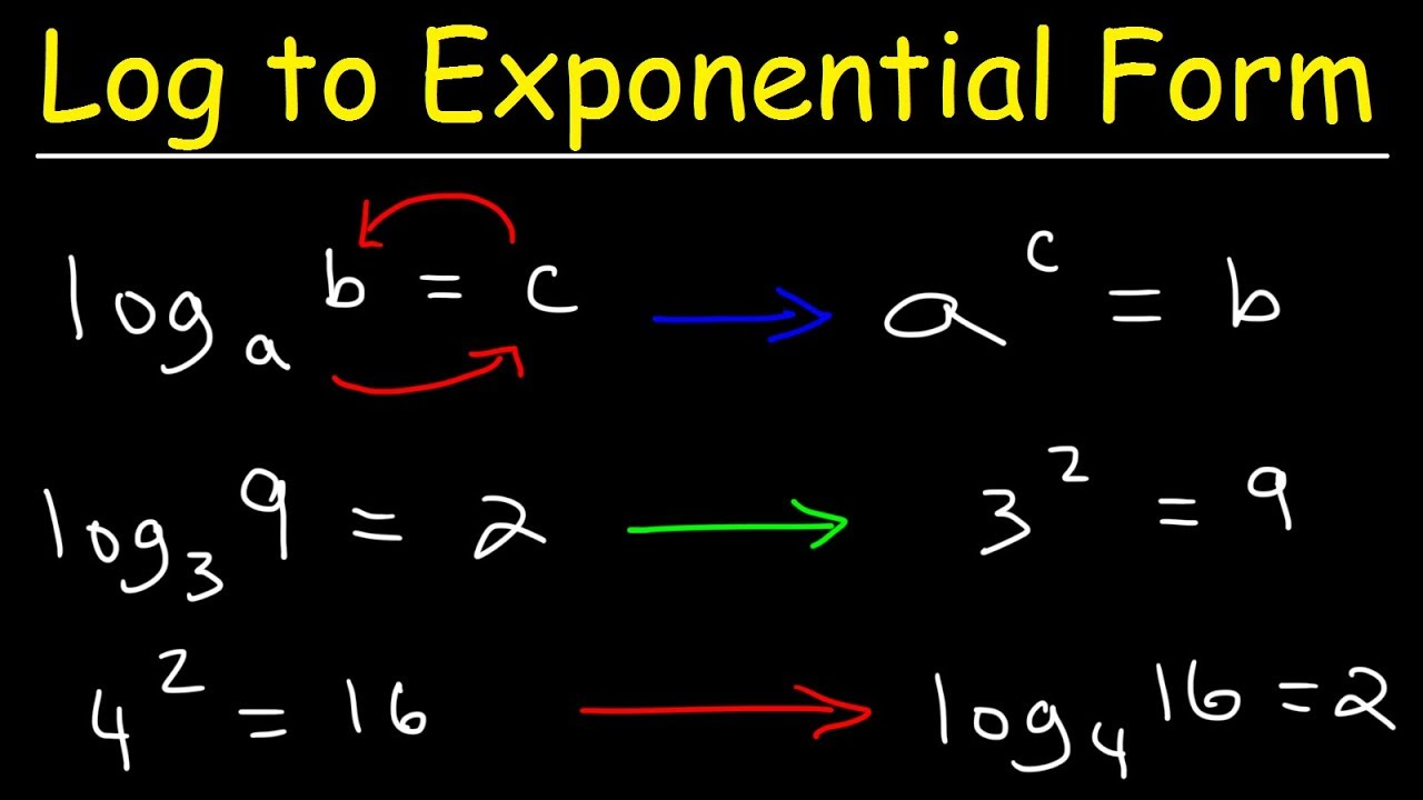 Writing Logarithmic Equations In Exponential Form