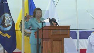 Nancy Pelosi speaks at christening of Naval ship in honor of John Lewis