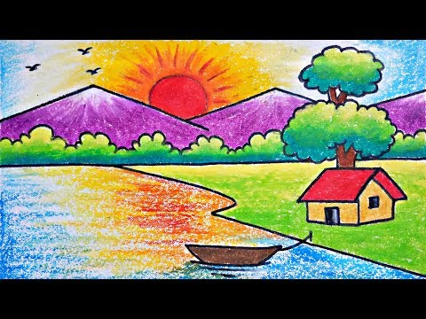 Very Easy Scenary Drawing | How To Draw Simple Scenery For Beginners