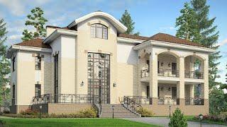 Проект дома в европейском стиле из кирпича. Трехэтажный дом, мансарда и цоколь. Ремстройсервис М-228