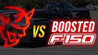 Dodge SRT Demon vs Boosted F150 | 1/4 MILE ROLL RACE