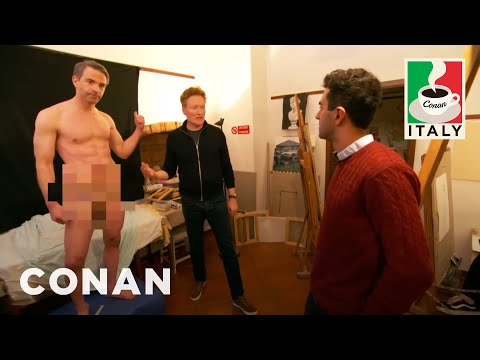 Jordan Schlansky Poses As A Nude Model  - CONAN on TBS