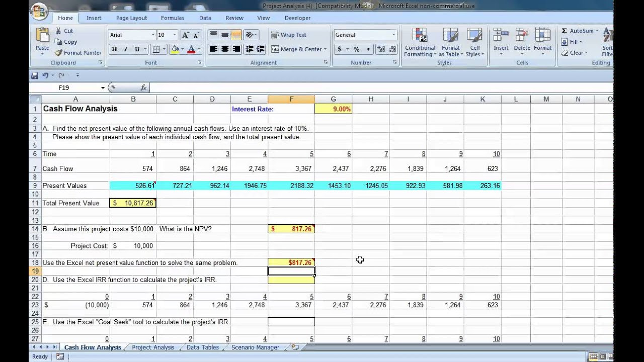 Excel cash flow analysis with irr and goal seek youtube excel cash flow analysis with irr and goal seek alramifo Choice Image