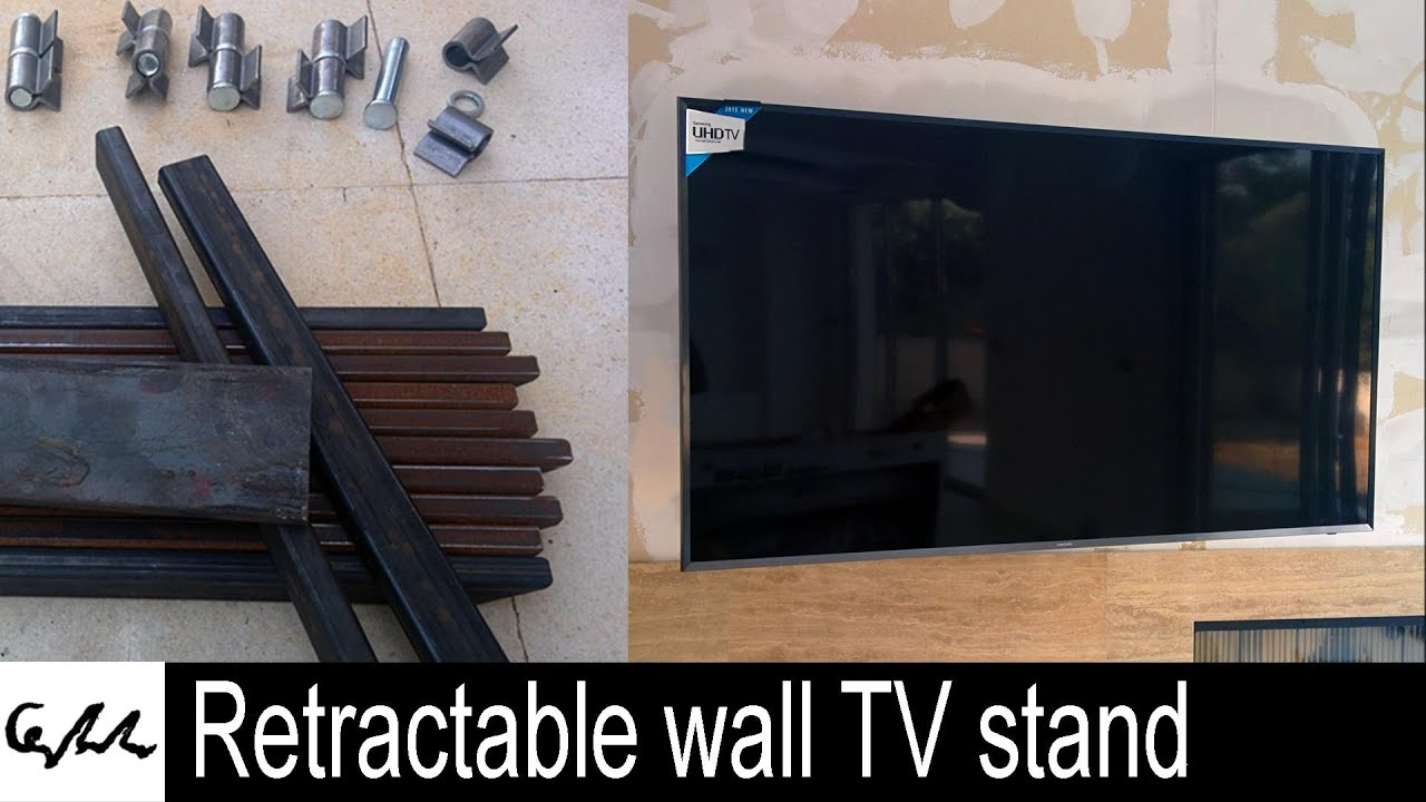 retractable wall tv stand - youtube