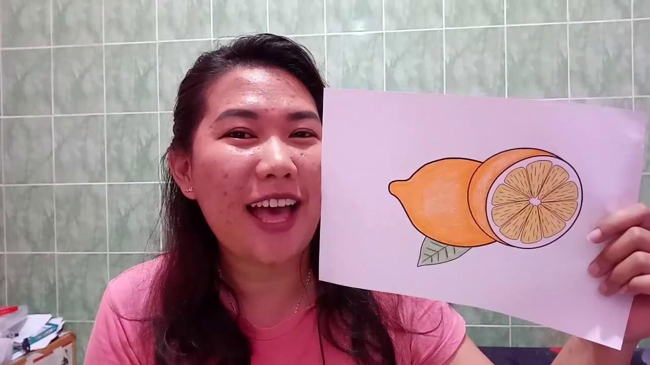 Mewarnai Buah Jeruk Lemon Coloring Pages For Kids Learning Color