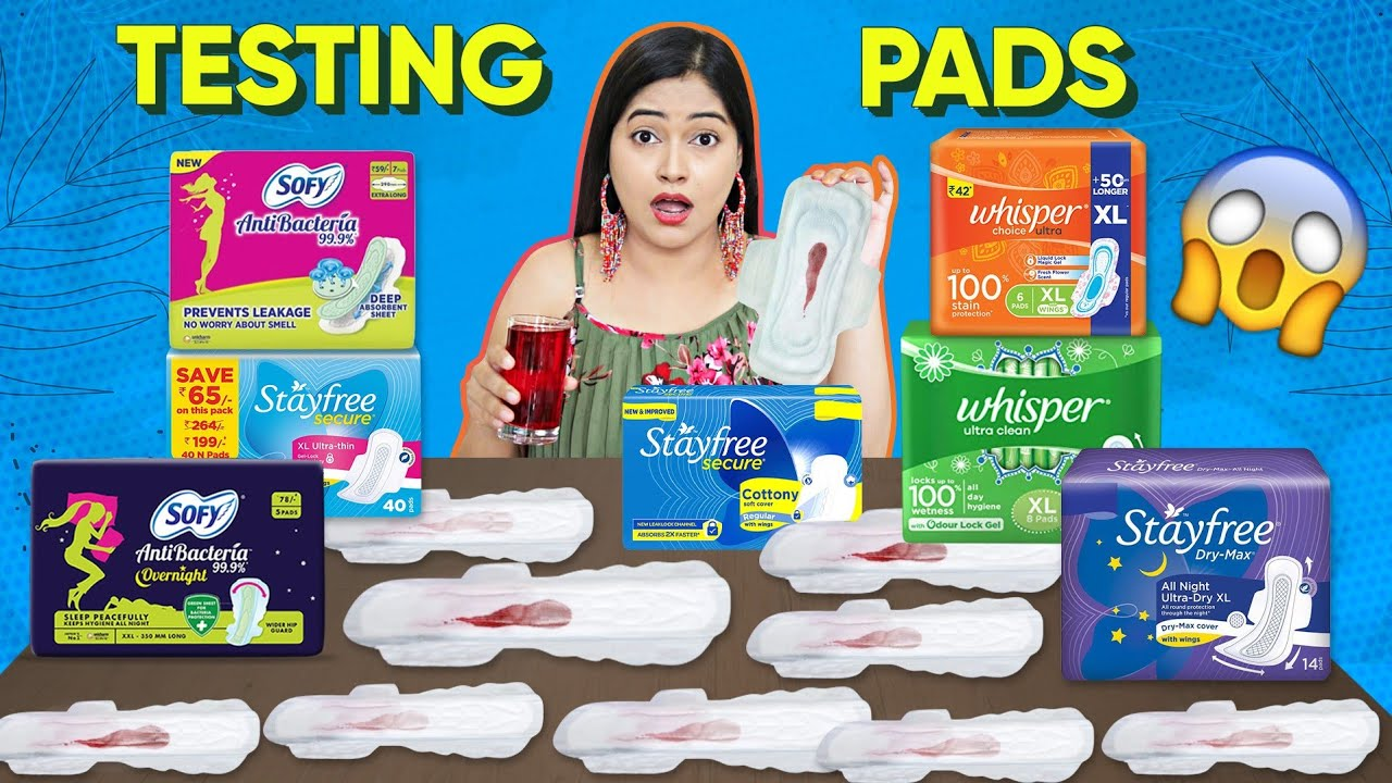 Download Live Testing Different Pads कौन सा सबसे घटिया Worst & Best Pads Dryness Test🤔 TEMPON & MENSTRUAL CUP