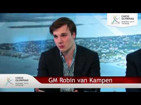 Robin van Kampen and Erwin l'Ami - Chess Olympiad webcast - Round 5