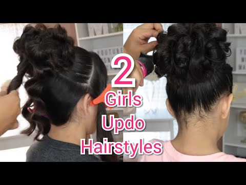 2-peinados-recogidos-fÁciles-para-cabello-corto-largo-para-niÑas,-quinceaÑera- -cute-girls-hairstyle