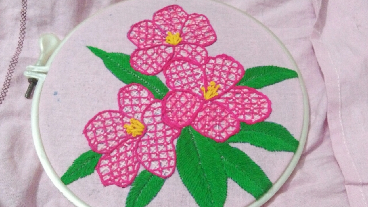 Hand embroidery with easy basic stitches beautiful flower