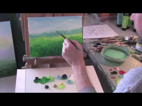 Acrylic Painting Lesson; Simple Countryside Landscape