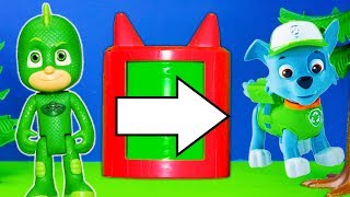 Paw Patrol Help the PJ Masks Build  Pretend Play Transforming Towers