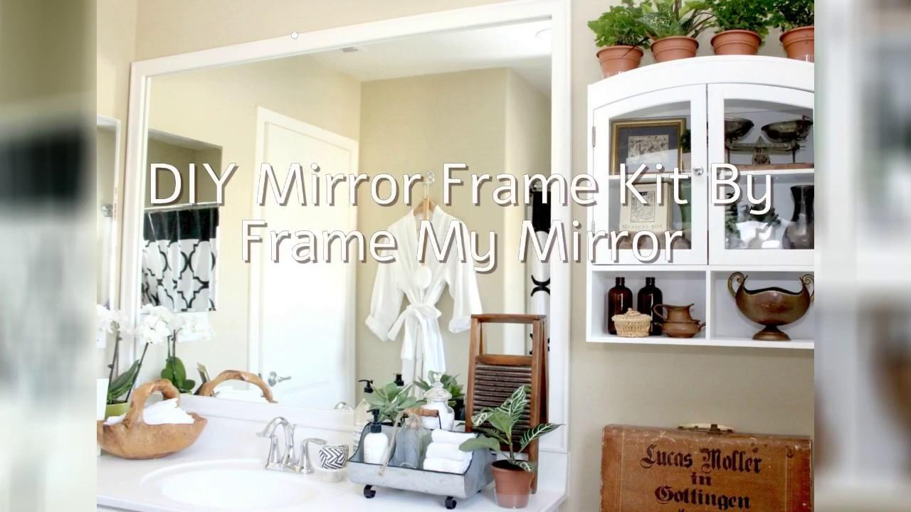 Simple Bathroom Upgrade - DIY Mirror Frame with Mendez Manor - YouTube