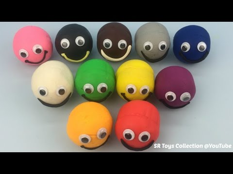 Play and Learn Colours with Playdough Smiley Face Peppa Pig Molds Fun for Kids