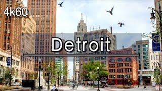 【4K】Downtown Detroit Michigan Walking Tour (1 Hour)   UHD 4k 60FPS