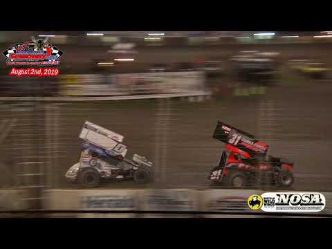 River Cities Speedway NOSA Sprint Car A-Main (8/2/19)